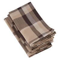 Brown Plaid Design Cotton Napkins (Set of 4)