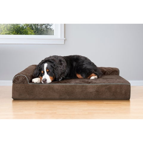Quilted FauxFur & Velvet Goliath Extra Large Breed Deluxe L-Chaise Lounge Pet Dog Bed
