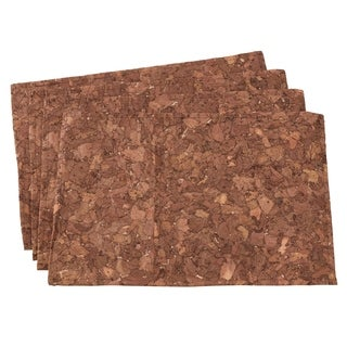 """Textured Table Mats In Cork And Poly Blend (Set of 4) - 13""""x19"""""""