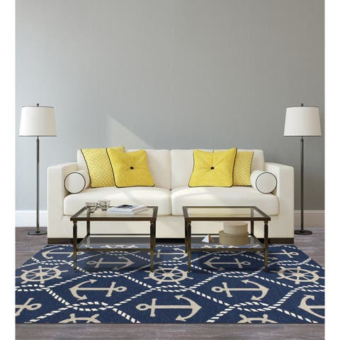 KAS Harbor Navy Marina Indoor/Outdoor Rug