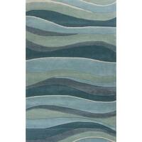 KAS Rugs Eternity 1053 Ocean Landscapes Wool/Cotton Handmade Rug - 5' x 8'