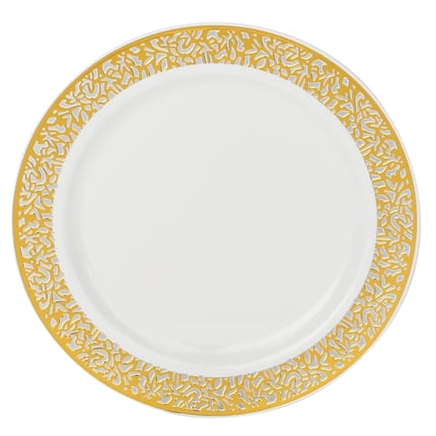Disposable White with Lace Rim Plastic Round Plates - For Party's and Weddings