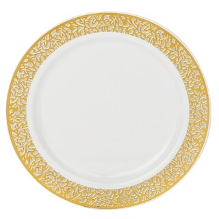 Kaya Collection - Disposable White with Lace Rim Plastic Round Dinner Plates