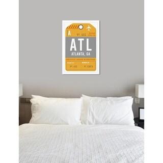 Oliver Gal 'Atlanta Luggage Tag'Framed Art - gray, orange