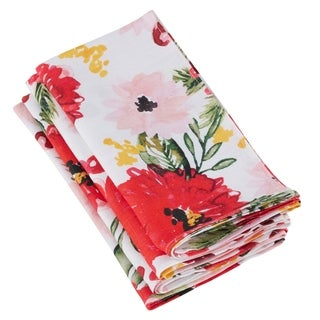 100% Linen Table Napkins With Floral Design (Set of 4)