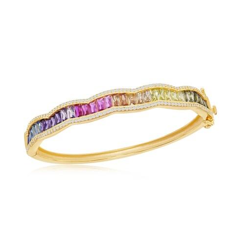 La Preciosa Sterling Silver 14K Gold Overlay Baguette Rainbow CZ Bangle