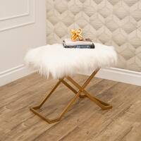 Abbyson Jacquie Gold Faux Fur Bench