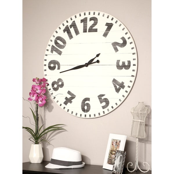 Oversized White Industrial Style Wall Clock
