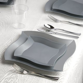 Kaya Collection - Wave Disposable Plastic Dinnerware Party Package