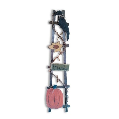 Fall Harvest Decorative Ladder with Crow and Pumpkin