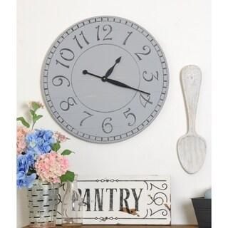 Oversized Weathered Gray Farmhouse Wall Clock