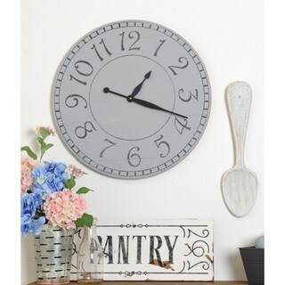 Oversized Weathered Gray Farmhouse Wall Clock
