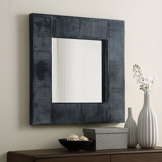 "32"" Square Textured Frame Wall Mirror - charcoal - 32 x 2 x 32h"
