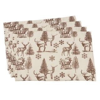 "Reindeer And Tree Design Cotton Table Placemats (Set of 4) - 13""x19"""