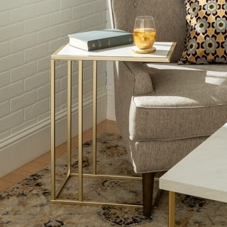 Silver Orchid Parrott 20-inch Glam Asymmetrical C Side Table - 12 x 19 x 24h