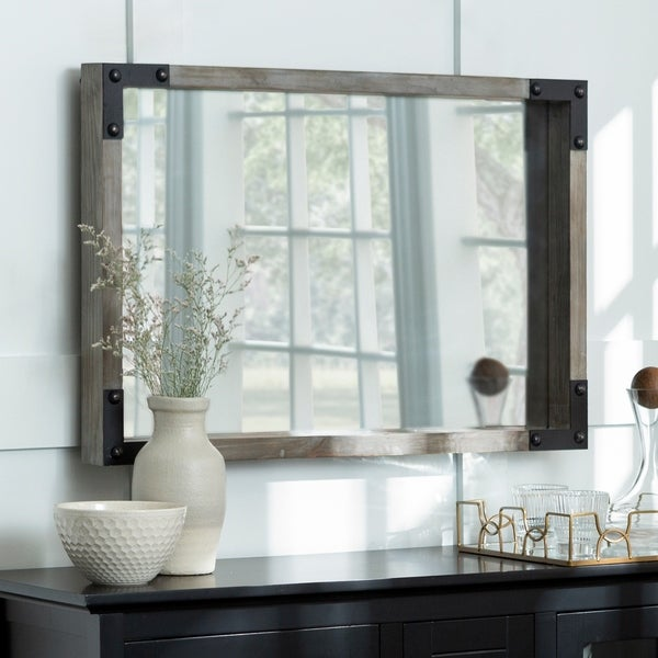 """36"""" x 24"""" Metal and Wood Wall Mirror - 36 x 3 x 24h"""