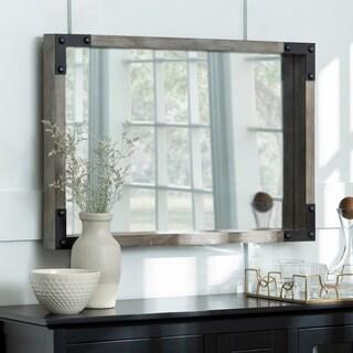 "36"" x 24"" Metal and Wood Wall Mirror - natural wash - 36 x 3 x 24h"