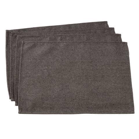 "Herringbone Design Wool Blend Placemats (Set of 4) - 14""x20"""