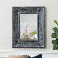 36-inch x 28-inch Charcoal Textured Framed Beveled Wall Mirror