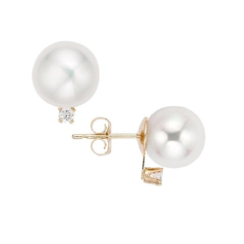 Pearlyta 14k Gold Round Freshwater Pearls with 2pt. Accent Diamond Earring Studs for Women