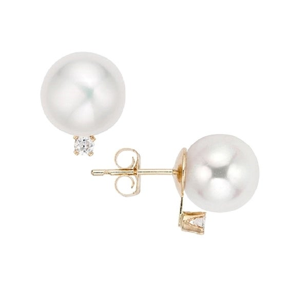 16b52bc7f Pearlyta 14k Gold Round Freshwater Pearls with 2pt. Accent Diamond Earring  Studs for Women