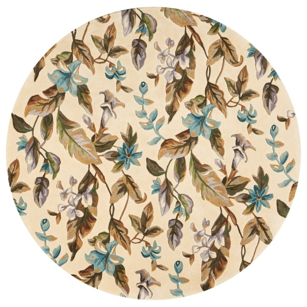 Kas Rugs Catalina Collection Botanics Ivory Teal Wool Round Tropical Area Rug 5