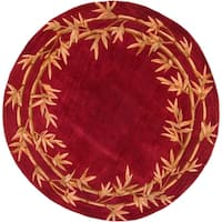 KAS Sparta Red Bamboo Double Border Round Rug - 7'6