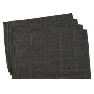 "Moss Plaid Design Wool Blend Placemats (Set of 4) - 14""x20"""