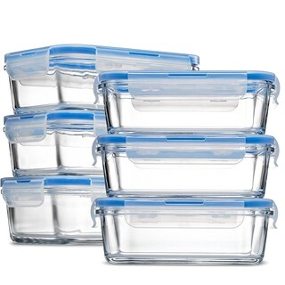 Glass Meal Prep Food Storage Containers - (6-Pack 28 Oz.) Portion Control Lunch Containers, with BPA Free Airtight Locking Lids