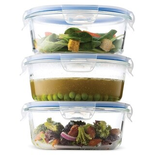 Glass Meal Prep Food Storage Containers - (3-Pack 30 Oz.) Portion Control Lunch Containers, with BPA Free Airtight Locking Lids,