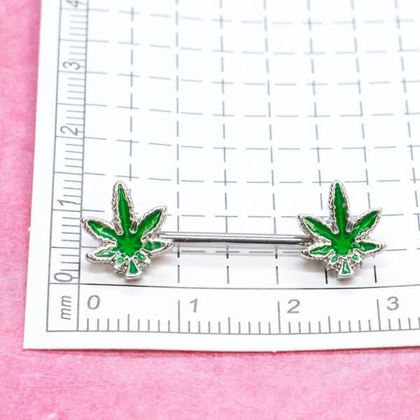 Shop Marijuana Leaf Nipple Barbell Weed Nipple Piercing 14