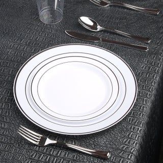 Kaya Collection - Disposable White With Metallic Rim Plastic Dinnerware Party Package