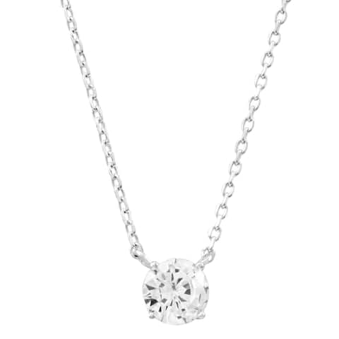 Luxiro Sterling Silver White Cubic Zirconia Solitaire Necklace