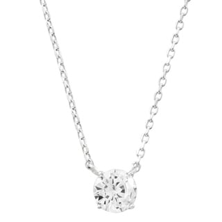 Link to Luxiro Sterling Silver White Cubic Zirconia Solitaire Necklace Similar Items in Necklaces