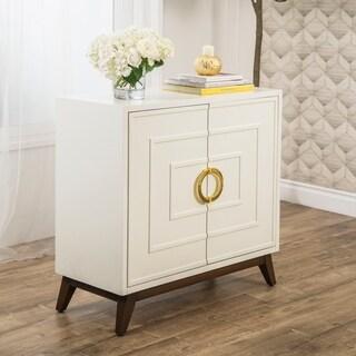 Abbyson Shiga White Wood Accent Cabinet