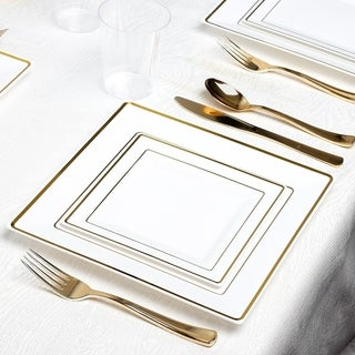 Kaya Collection - Square White and Metallic Disposable Plastic Dinnerware Party Package