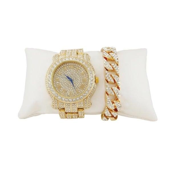 e9a3f0b953b92 Bling-ed Out Round Luxury Mens Watch w/ Bling-ed Out Cuban Bracelet -  L0504B - Cuban Gold/Gold
