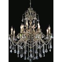 Antique Brass-finished Stainless Steel/Crystal 12-light Chandelier