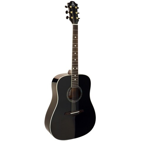 Hohner A Plus AS355 Steel String Dreadnought Solid Top Acoustic Guitar w/ Gig Bag, Black