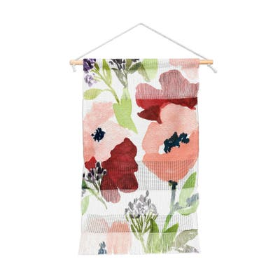 Laura Trevey Pink Poppies Portait Wall Hanging Tapestry