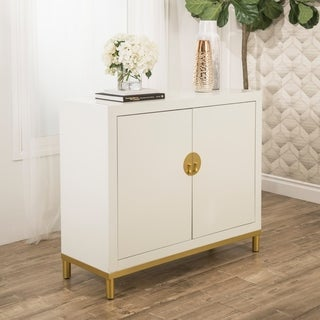 Abbyson Nagano White Two Door Storage Cabinet