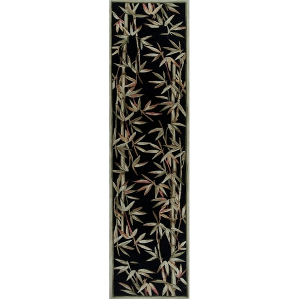 Bamboo Rug Runner: Shop KAS Sparta Black Bamboo Border Runner Rug