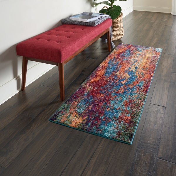 "Nourison Celestial Atlantic Blue and Red Abstract Area Rug - 2'2"" x 3'9"""