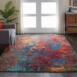 "Nourison Celestial Atlantic Blue and Red Abstract Area Rug - 2'3"" x 3'9"""