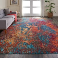 Nourison Celestial Atlantic Blue and Red Abstract Area Rug - 9' x 12'