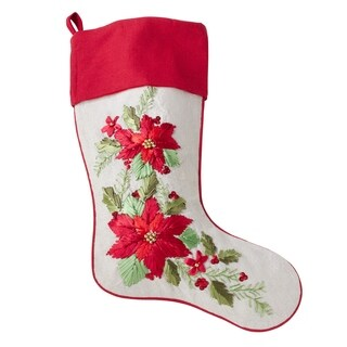 Poly Blend Large Christmas Stocking With Poinsettia Design