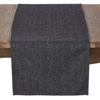 Black Tweed Runner With Wool And Poly Blend