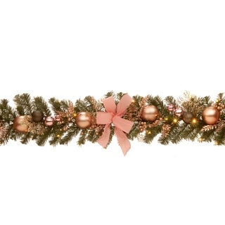 "72"" Decorated Pine Garland with Battery Operated LED Lights"