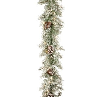 9 ft. Frosted Mountain Spruce Garland with Clear Lights
