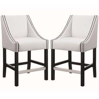 Contemporary Sloped Arm Design White Counter Height Stools with Nailhead Trim (Set of 2)